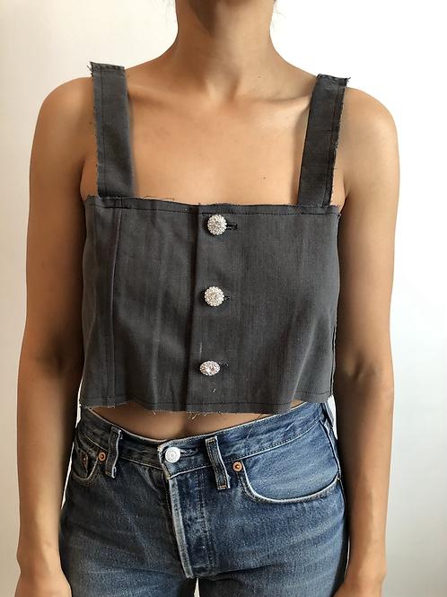 Reworked grey jean top