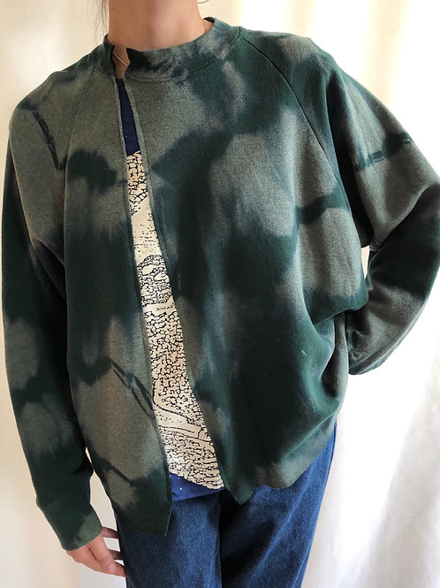 Bleached green sweatshirt reworked with Celine scarf - L