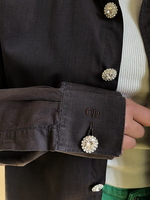 Reworked brown vintage authentic Dior men shirt