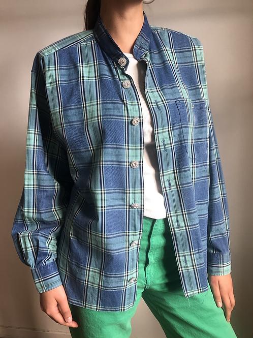 Reworked blue vintage authentic Lacoste men shirt
