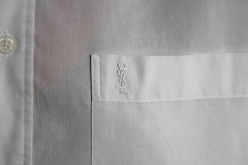 Reworked white vintage authentic Yves Saint Laurent men shirt