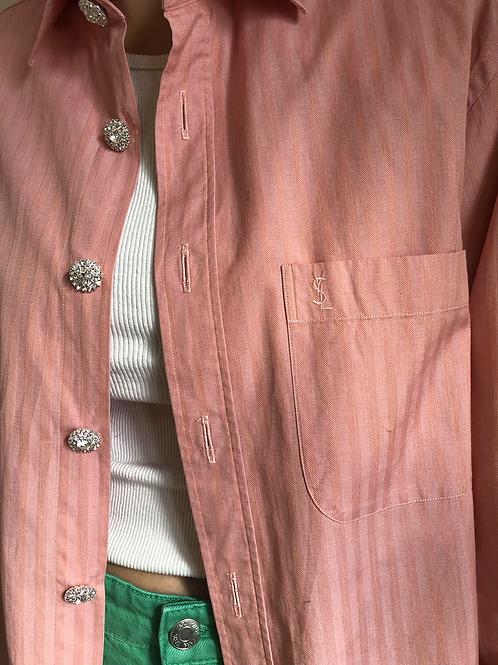 Reworked light pink vintage authentic Yves Saint Laurent men shirt
