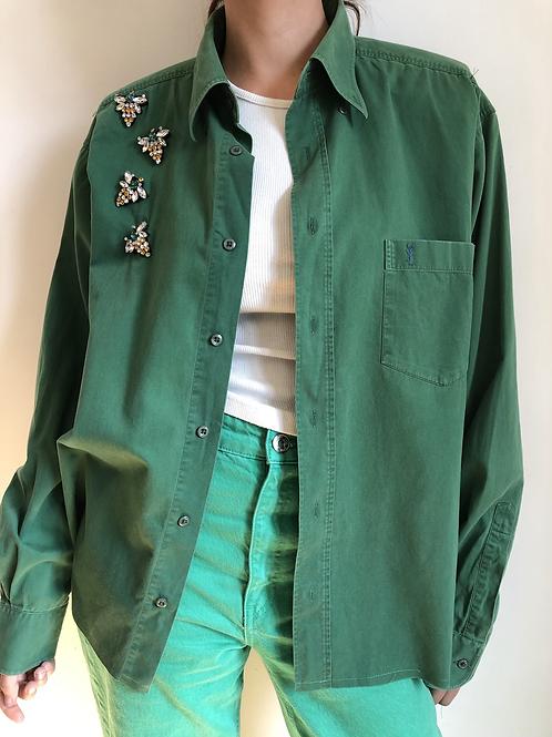 Reworked green vintage authentic Yves Saint Laurent men shirt