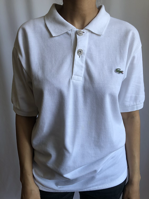 Reworked white second hand Lacoste t-shirt - L
