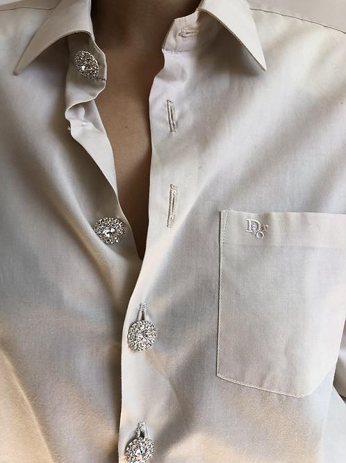 Reworked light beige vintage authentic Dior men shirt