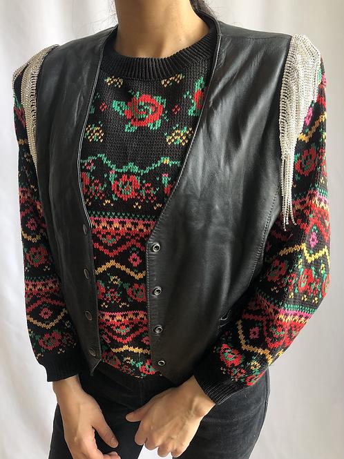 Vintage leather jacket with crystal fringes