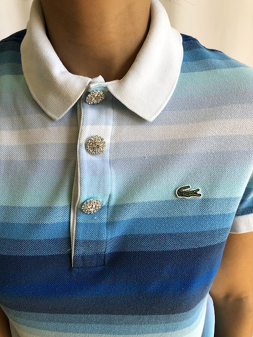 Reworked striped blue second hand Lacoste t-shirt - M