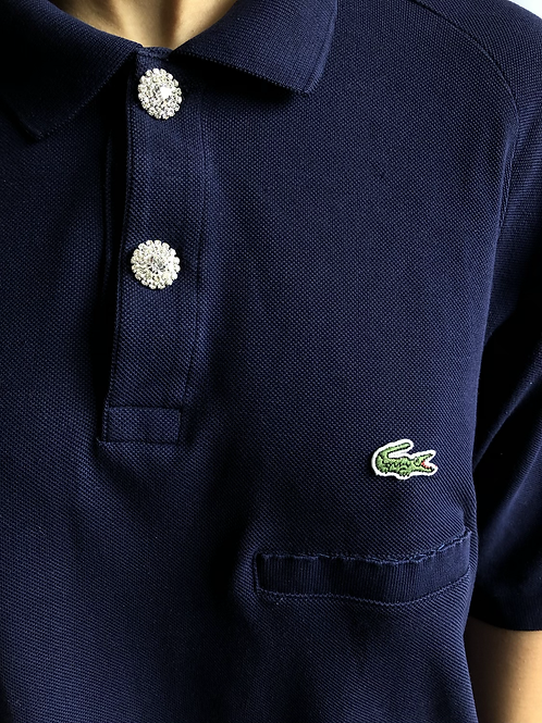 Reworked blue second hand Lacoste t-shirt - XL