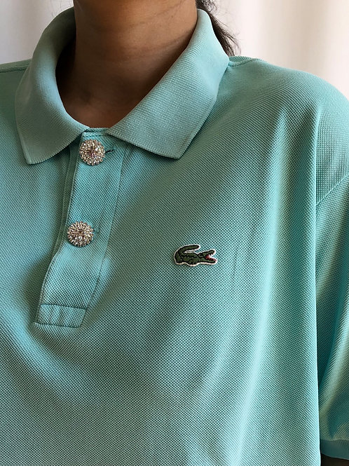 Reworked turquoise second hand Lacoste t-shirt - XL