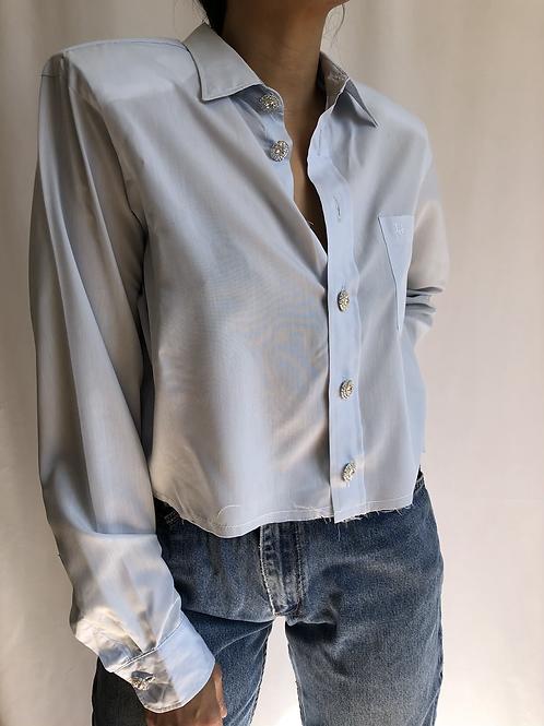 Reworked light blue vintage authentic Dior men shirt