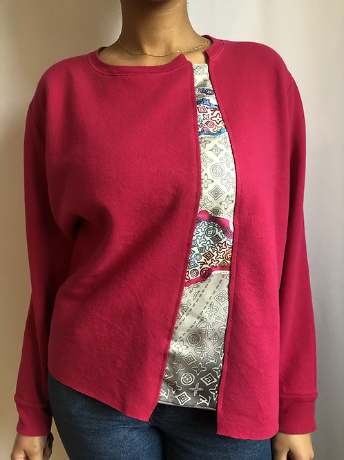 Pink vintage sweatshirt reworked with authentic Louis Vuitton