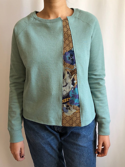 Mint green sweatshirt reworked with Gucci scarf - S/M