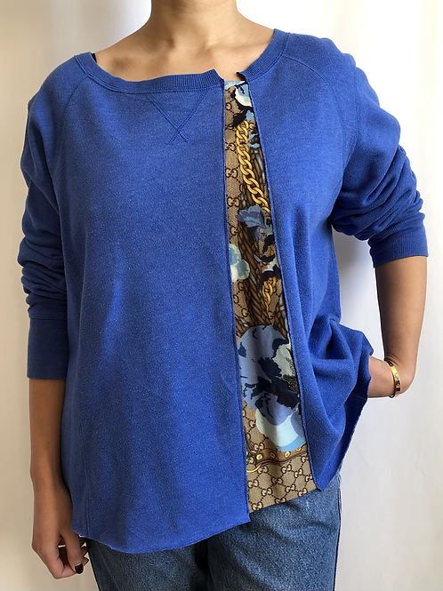 Blue sweatshirt reworked with Gucci scarf - M/L