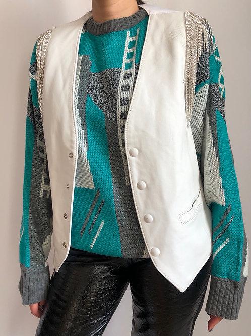 Vintage white sleeveless leather jacket with crystal fringes