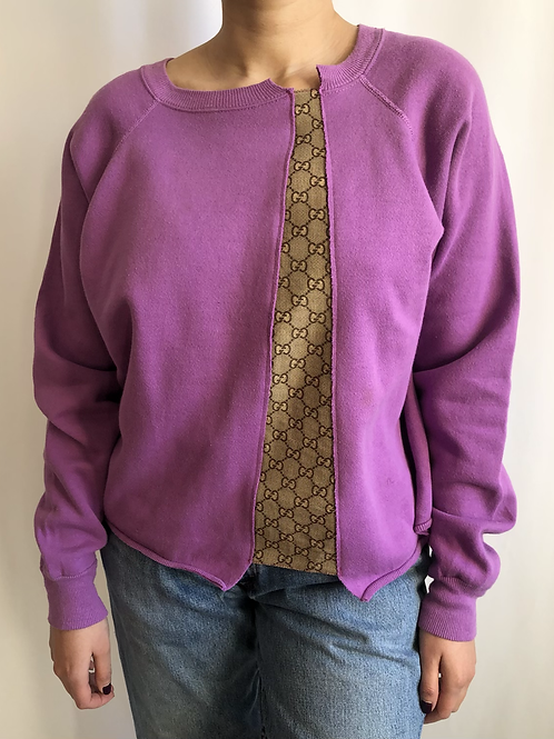 Purple sweatshirt reworked with Gucci scarf - S/M