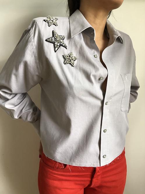 Reworked grey vintage authentic Yves Saint Laurent men shirt