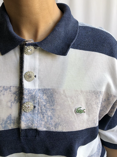 Bleached blue and white second hand Lacoste polo - XL