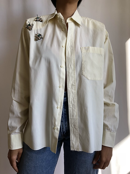 Reworked light yellow vintage authentic Dior men shirt