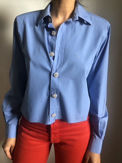 Reworked blue vintage authentic Dior men shirt