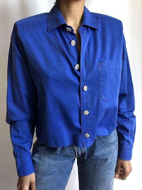 Reworked blue vintage authentic Dior men shirt
