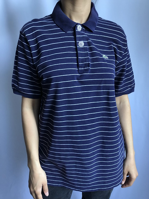 Reworked blue with white stripes second hand Lacoste t-shirt - XL
