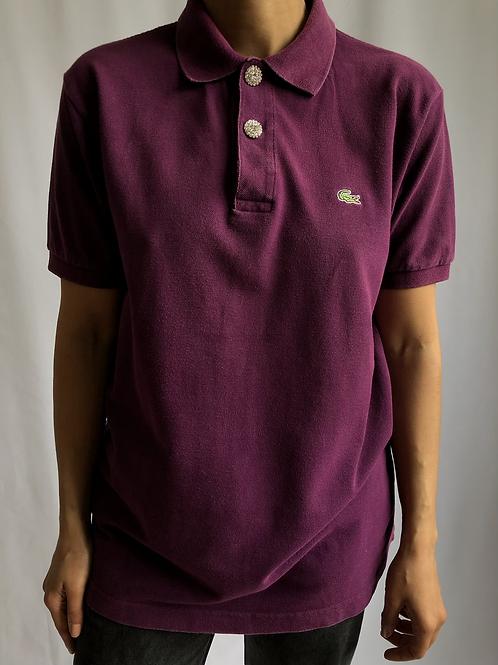 Reworked dark purple second hand Lacoste t-shirt - XL