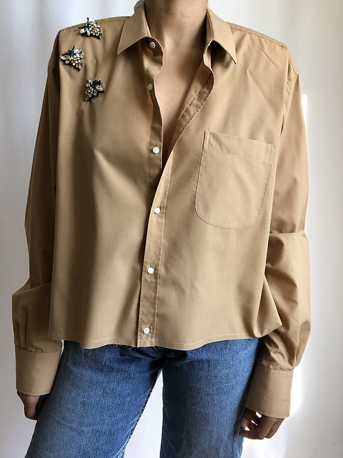 Reworked beige vintage authentic Yves Saint Laurent men shirt