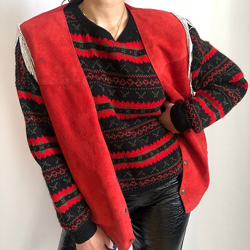 Vintage red sleeveless suede jacket with crystal fringes