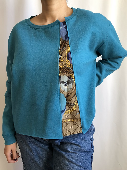 Turquoise sweatshirt reworked with Gucci scarf - M
