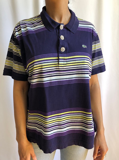 Reworked striped green and purple second hand Lacoste t-shirt - XL