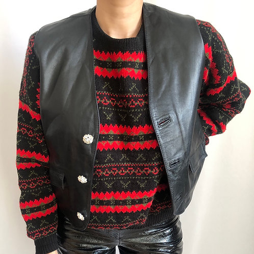 Vintage black sleeveless leather jacket with crystal buttons