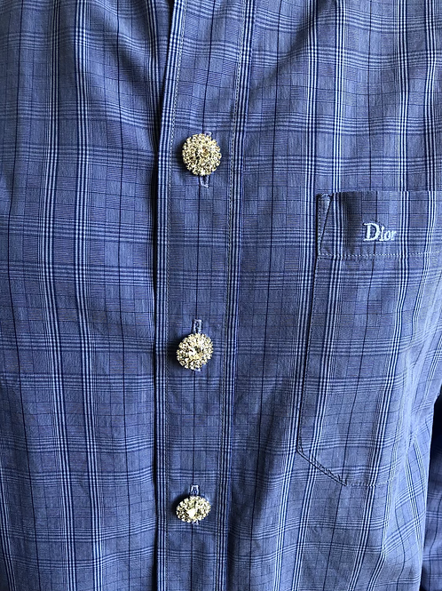 Reworked blue-check vintage authentic Dior men shirt