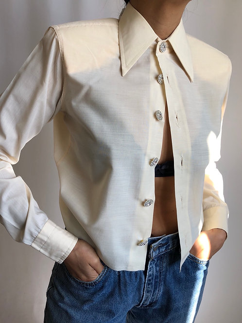 Reworked light yellow vintage authentic Dior men shirt
