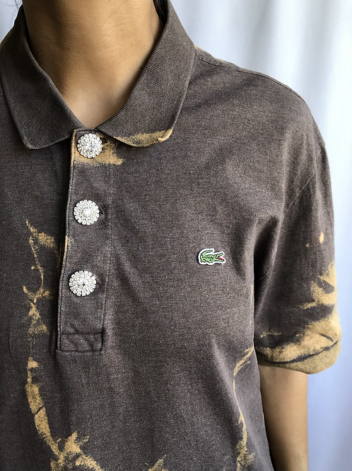 Bleached brown and orange second hand Lacoste polo - XL