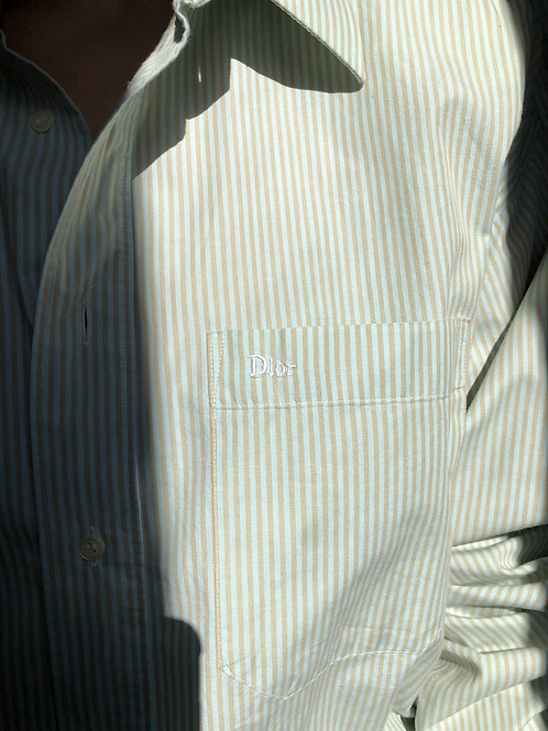 Reworked green vintage authentic Dior men shirt with beige stripes
