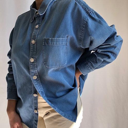 Reworked blue jean vintage authentic Yves Saint Laurent men shirt