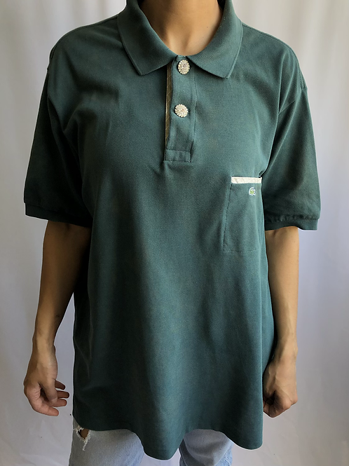 Bleached green and light beige second hand Lacoste polo - XXL