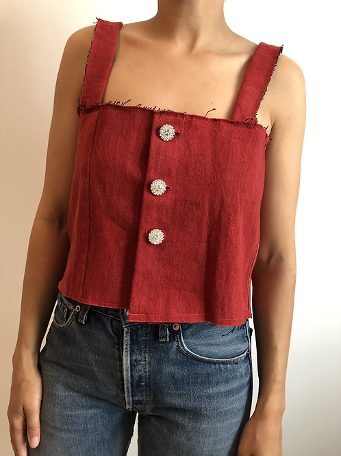 Reworked red jean top