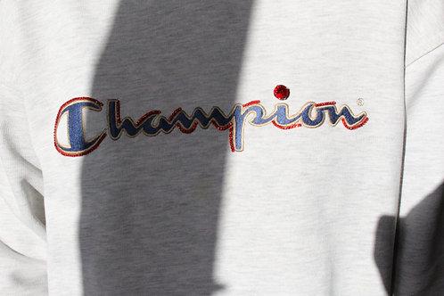 Embroidered light grey Champion sweatshirt