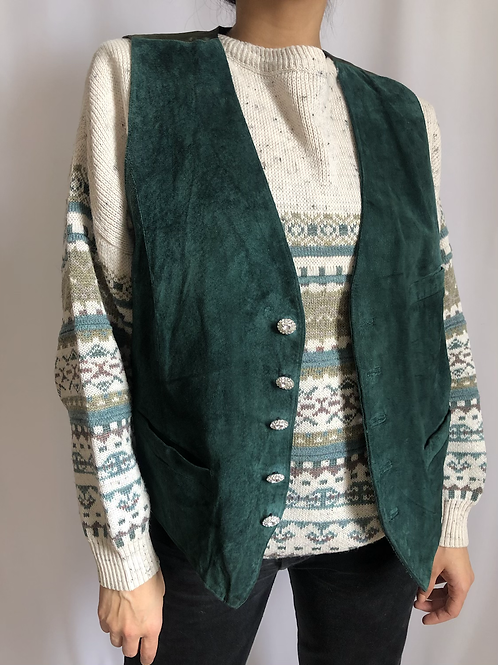 Vintage green sleeveless suede jacket with crystal buttons