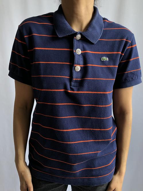 Reworked striped blue/orange second hand Lacoste t-shirt -XL