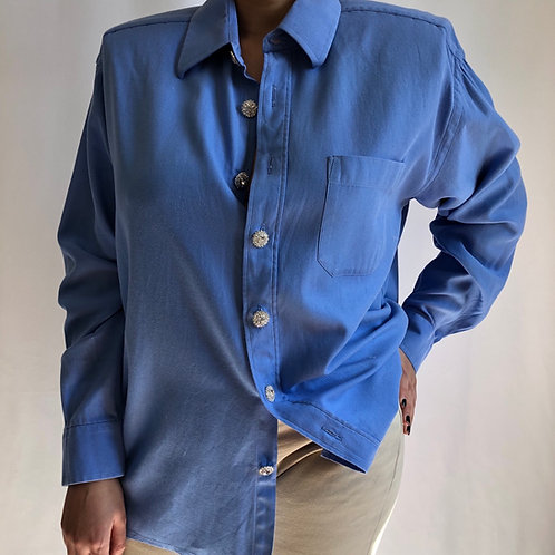 Reworked light blue vintage authentic Dior men shirt