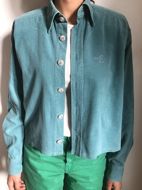 Reworked light blue vintage authentic Yves Saint Laurent corduroy men shirt