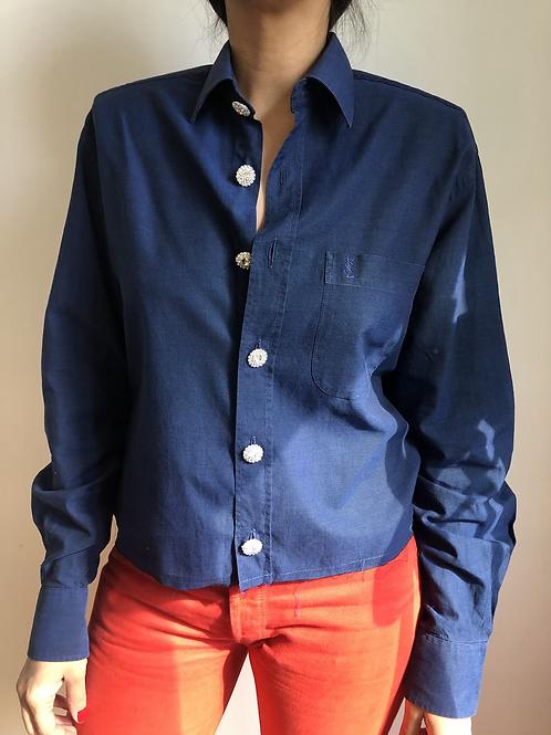 Reworked blue vintage authentic Yves Saint Laurent men shirt