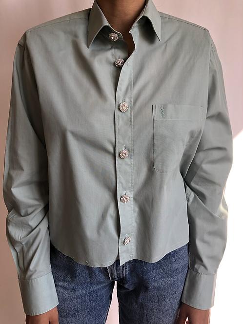 Reworked light green vintage authentic Yves Saint Laurent men shirt