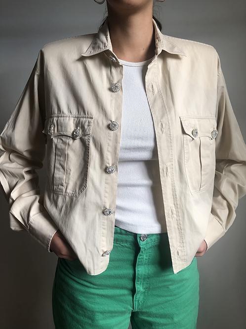 Reworked beige vintage authentic Yves Saint Laurent men shirt