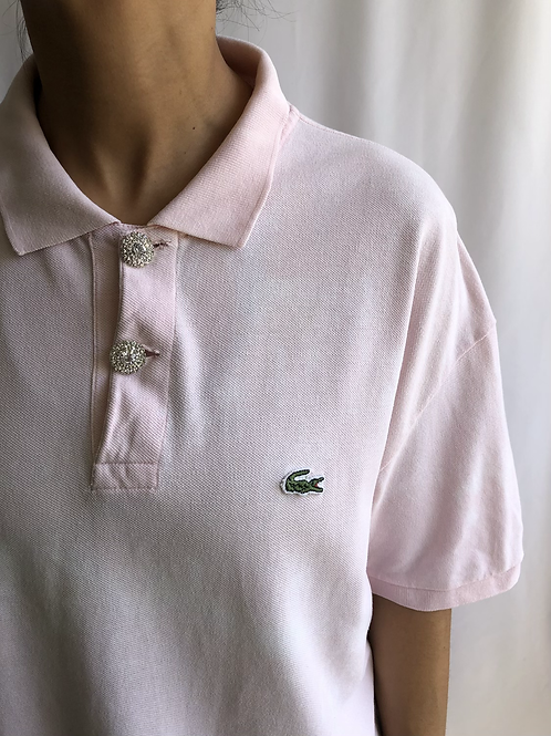Bleached pink and white second hand Lacoste polo - XXXL