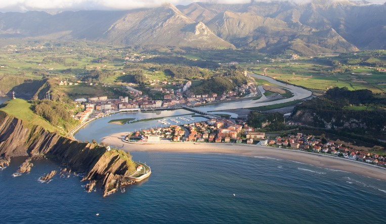 Ribadesella Beach in Asturias, Spain