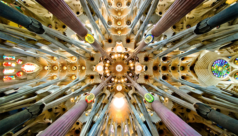 Inside the astonishing Sagrada Familia basilica by Gaudi in Barcelona