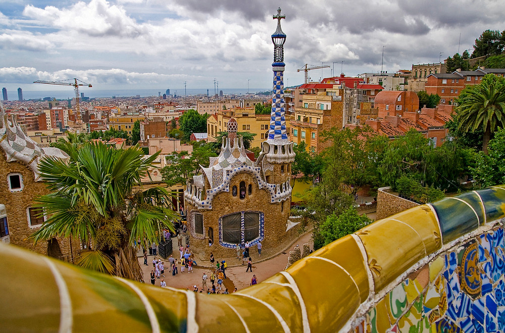 Views of Barcelona from Parc Guell by Gaudi in Barcelona